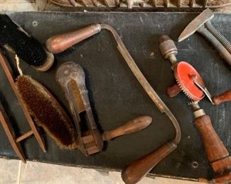 Vintage tools in a leather suit case