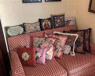 Love seat and throw pillows