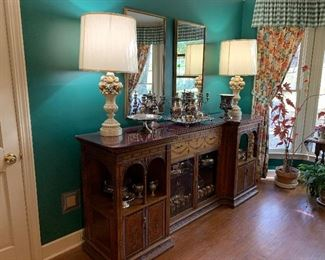 Stunning buffet, silver, Chapman lamps, pair of mirrors, silver plate collection