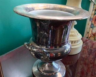Silver plate wine cooler with aluminum liner