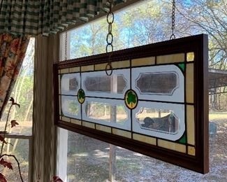 Stained glass windows with shamrocks