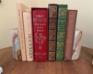 Leather, nice bookends. Several pairs of bookends....