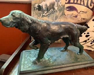 Large patinated scupture of a dog