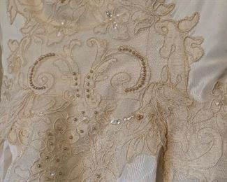 Detail of vintage wedding gown