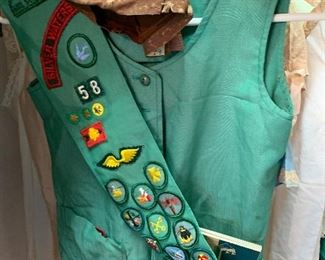 Vintage Girl Scout uniform. Also lots of vintage Girl Scout handbooks, tent, canteens, etc.