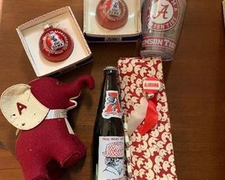 University of Alabama souvenirs, note the roll Tide elephant felt animal, and red and white elephant men's ties. Super cool and super vintage.