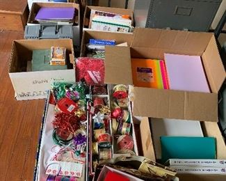 Office supplies, paper, greeting cards, all unused. Will sell by the box
