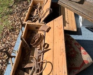 Boxes of found objects Doug on site. Horseshoes, plow points and all manner of metal objects dug up in Columbia on the grounds of this house. Artillery boxes