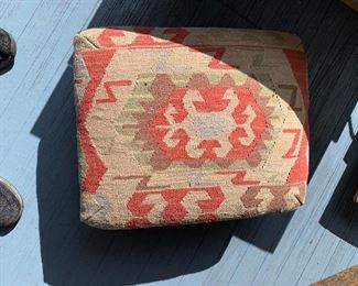 Cool old footstool wrapped in an 'Indian' pattern