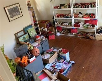 Another view of holiday room also boxes and boxes of greeting cards and office paper