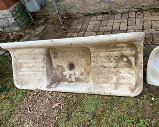 Two massive farm sinks cast iron with enamel. In great condition