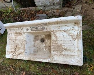 Two massive farm sinks cast-iron with great enamel in excellent condition