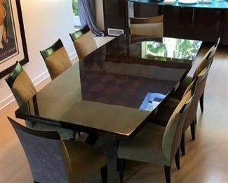 "Dakota Jackson  ""EPOCH"" series dining table has a diamond pattern"