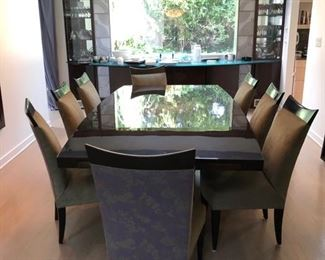 Gorgeous Dakota Jackson dining table & eight chairs in excellent condition