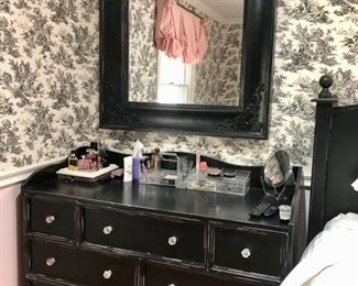 Queen size black distressed bedroom set (NO MATTRESS)