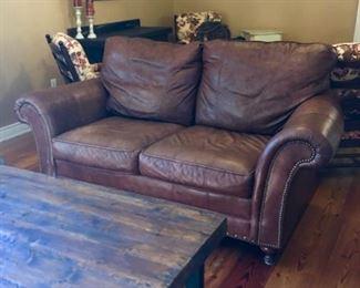 Three leather nailhead sofas