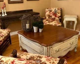 French Country coffee table & floral upholstered chairs