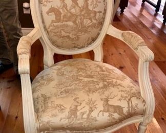 Set of eight toile chairs -very beautiful!