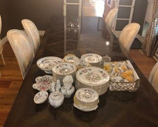 Very long dining table (shown with 3 leaves) and EIGHT toile French Country chairs