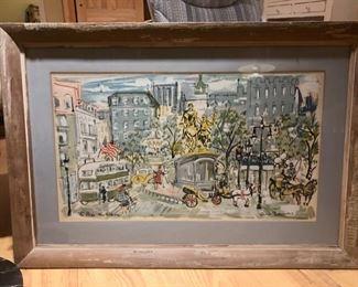 Vintage Claude Rodewald silkscreens - NY & Chicago