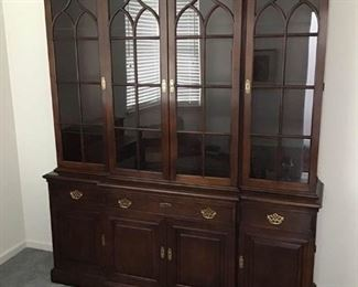 Statton Cherry Chippendale Style China Cabinet Breakfront