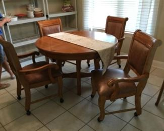 "Wood dinette 48"" - chairs on casters 4 with extra leaves."