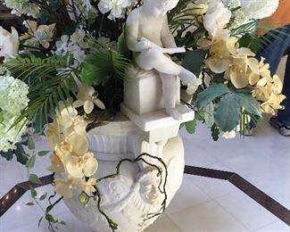 "Item #2 Italian Carrara marble urn / fountain signed A. Piazza & dated 1890. 49""T x 28""W"