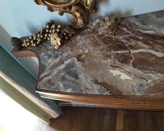 "Item #5 marble top console on antique brackets 70""L x 31""H x 16 1/2""D"