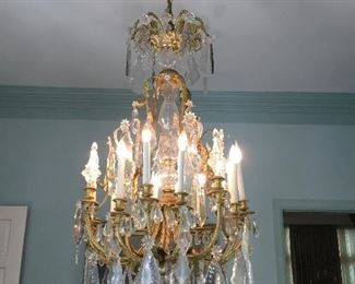 "Item #6 French Louis XV period bronze & Baccarat Crystal chandelier. 12 arms. 24""W x 3'T"