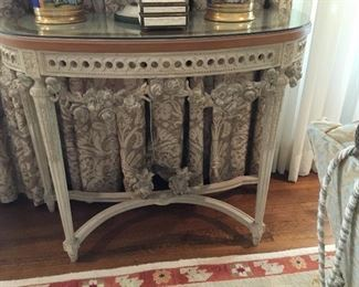 "Item # 14. french Louis XVI style console . 43""W x 18 1/2""d x 34 1/2""T."