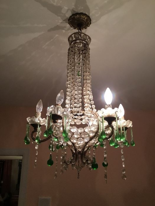 "Item #44 chandelier crystal & green glass prisms. Needs to be re-wired 20""W x 30""H"