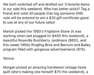 Vote for who has better draft picks, Morgan or Mariah, on Facebook and tag a friend who loves tag sales or vintage items to be entered to win a $25 gift certificate to future sales! See our draft picks team in the next 2 photos!