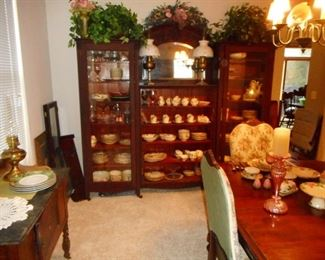 Antique Mahogany 4 Pieces, Glass Door Cabinets, Middle Cabinet, Beveled Arch Mirror, Hand Carved Face. Doors To Middle Cabinet we have. This is from a Victorian Home Built In 1872!!