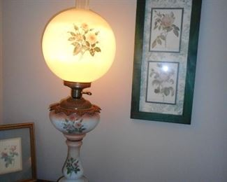 Antique Hand Painted Globe Hurricane Electrified Lamp