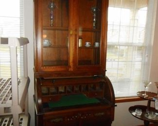 Antique Cylinder Barrel Secretary . Roll Down Lifts for Cubby Holes, Desk, Storage, Glass Doors, Cabinet