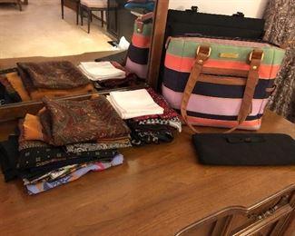 ladies' scarves, handbags