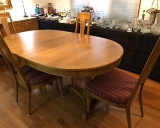 American of martinsville dining table, 3 leaves;  6 chairs