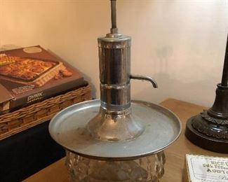 Vintage glass liquor pump decanter