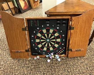 Sportcraft electronic dart board in wooden case