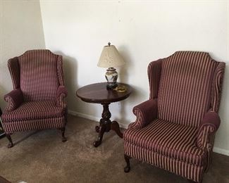 "Vintage Wingback Chair Set Measures 46"" tall at the back x 32"" wide x 34"" deep. Seat height is 19"" tall."