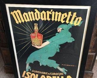 "Mandarinetto Isolabella Framed Liquor Print. Measures approximately 36"" x 24""."