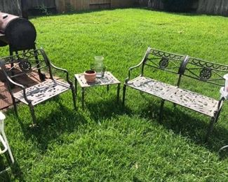 "Metal Patio Set Seats are 15"" tall. Chair: 21"" wide. Bench: 41 1/2"" wide."