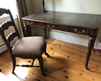 Beautiful Leather Topped Desk on Wheels