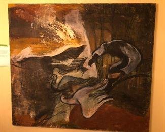 Birds in Flight, measures 64' X 72' oil on canvas. Payton Miller