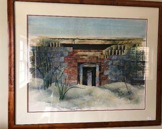 "Watercolor by Jane (Finck) Dosher, the daughter of Hazel Finck.  Measures 28.75"" x 24"""