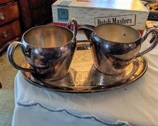 Silver over copper sugar and creamer set