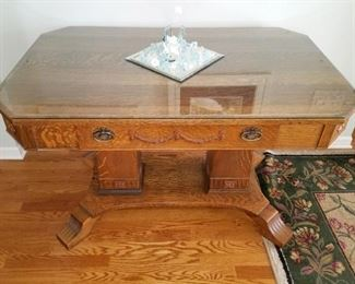 Antique refinished library table with custom glass top