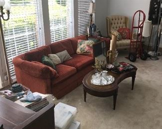 sofa , wing back chair and coffee table