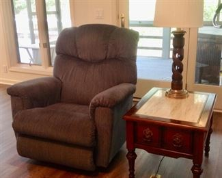 Blue La-Z-Boy Recliner, End Table w/Marble Top (We have 2 of these) and a Lamp