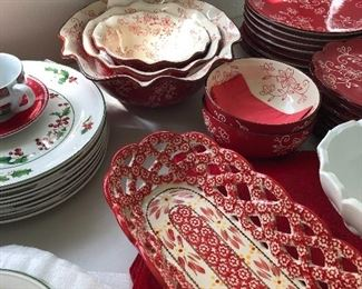 Red and white China set Christmas Set Holly